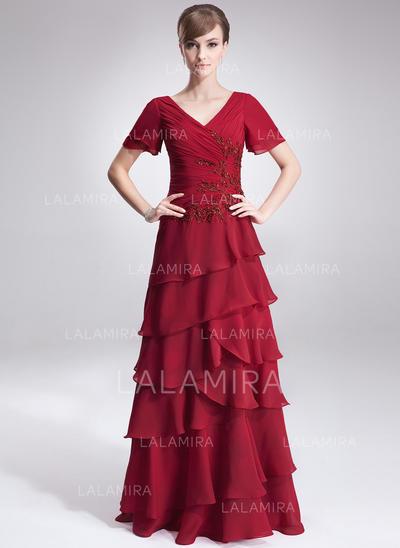 Corte A/Princesa Gasa Manga corta Escote en V Hasta el suelo Cremallera Vestidos de madrina (008213120)