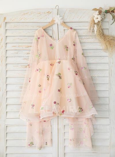 A-Line Knee-length Flower Girl Dress - Tulle Sleeveless V-neck (010193051)