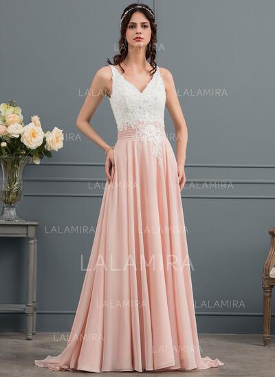 A-Line V-neck Sweep Train Chiffon Wedding Dress With Beading Sequins (002154025)