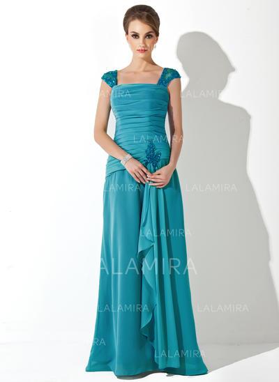 Nyeste Chiffong Firkantet hals A-formet/Prinsesse Kjoler til Brudens Mor (008006222)