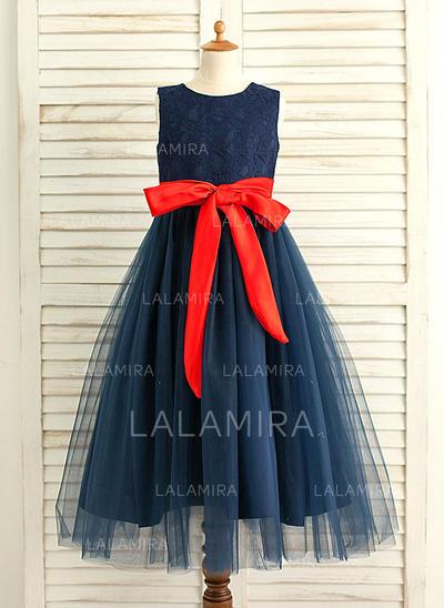 Vestidos princesa/ Formato A Longos Vestidos de Menina das Flores - Cetim/Tule Sem magas Decote redondo com Cintos (010117541)