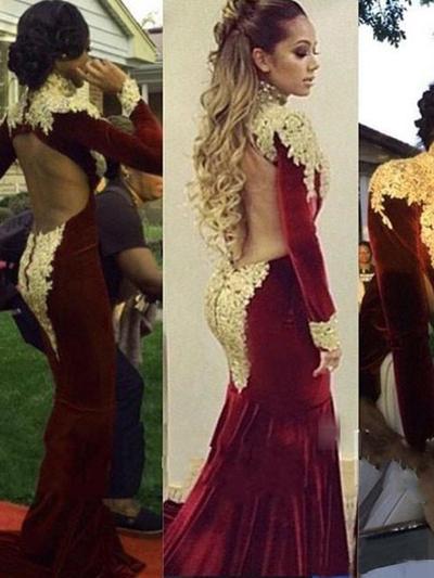 high neck mermaid prom dress