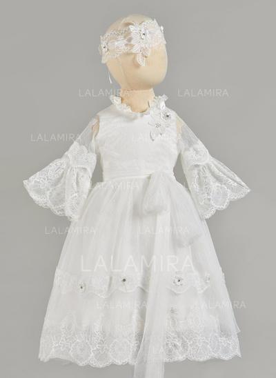 Dentelle Col rond Brodé Robes de baptême bébé fille avec Manches longues (2001217427)