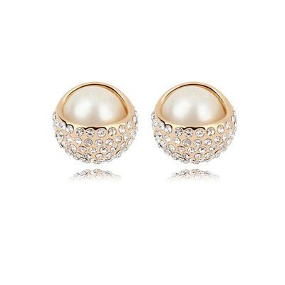 Pendientes Oro plateado champaign Perla Perforado Señoras' Joyas de boda & fiesta (011053699)