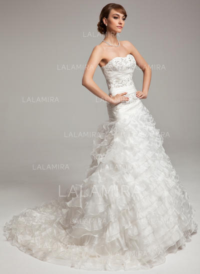 Beading Cascading Ruffles Sleeveless Sweetheart Organza A-Line/Princess Wedding Dresses (002196901)