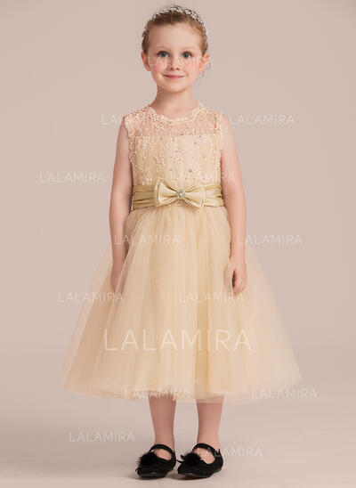 A-Line/Princess Tea-length Flower Girl Dress - Taffeta/Tulle/Lace Sleeveless Scoop Neck With Beading (Detachable sash) (010132402)