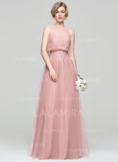 A-formet/Prinsesse kjæreste Gulvlengde Tyll Brudepikekjole (007072823)