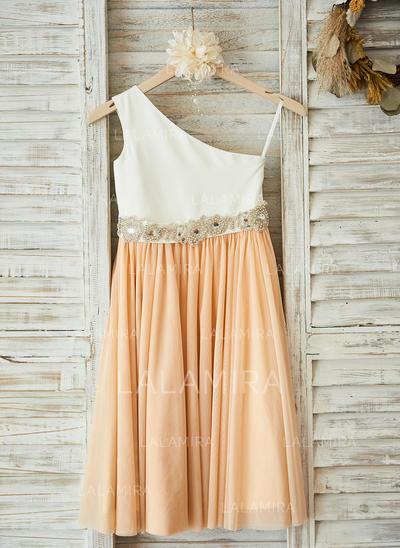 Satin/Tulle A-Line/Princess Sash/Rhinestone Flower Girl Dresses (010210144)