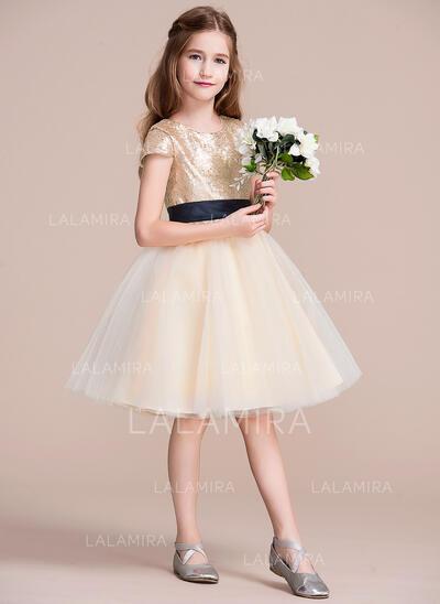 Forme Princesse Longueur genou Robes à Fleurs pour Filles - Tulle/Pailleté Sans manches Col rond avec Ceintures (010106121)