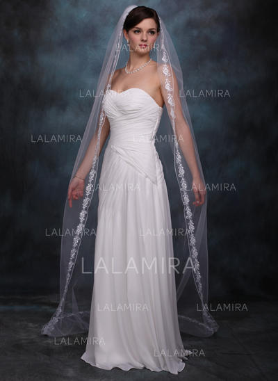 Chapel Bridal Veils Tulle One-tier Oval/Drop Veil/Mantilla With Lace Applique Edge Wedding Veils (006150809)