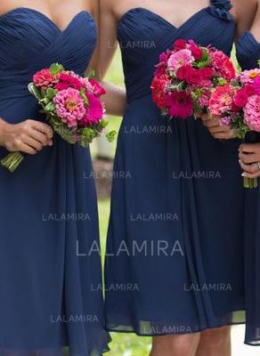 Sweetheart One-Shoulder General Plus A-Line/Princess Chiffon Sleeveless Bridesmaid Dresses (007144996)