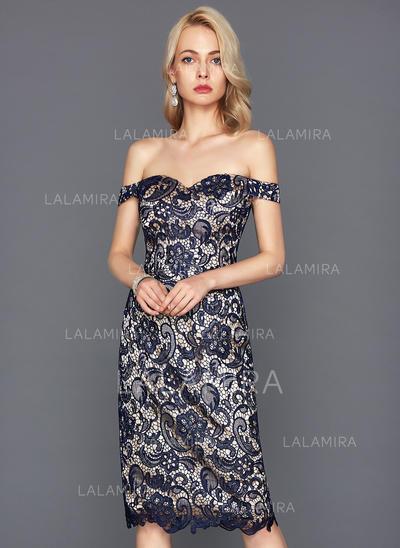 Knee-Length Sheath/Column Short Sleeves Lace Cocktail Dresses (016117260)