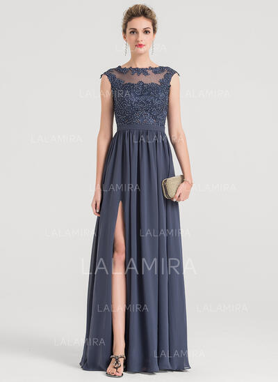 A-Line/Princess Scoop Neck Floor-Length Chiffon Evening Dress With Beading (017147974)