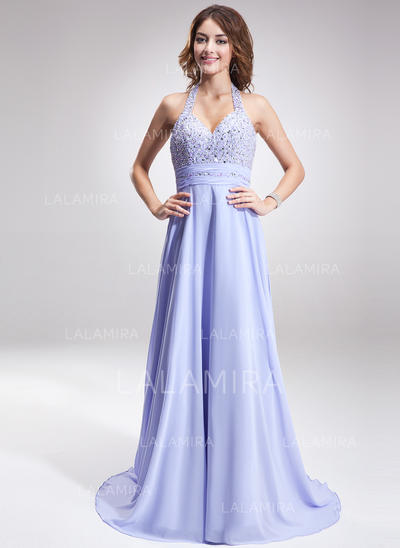 A-Line/Princess Chiffon Halter Sleeveless Evening Dresses (017016877)