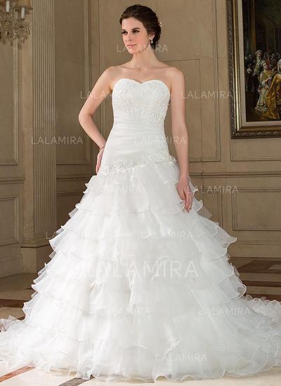 Vestido de novia corte corazon y princesa