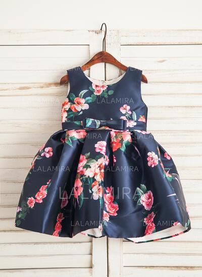 Vestidos princesa/ Formato A Coquetel Vestidos de Menina das Flores - Cetim Sem magas Decote redondo com Curvado (010109463)