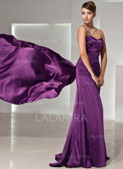 Delicado Charmeuse Corte A/Princesa Cremallera lateral Vestidos de noche (017014444)