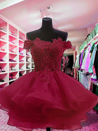 Ball-Gown Off-the-Shoulder Short/Mini Homecoming Dresses With Appliques Lace (022216354)