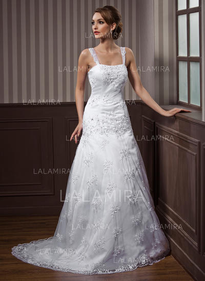 Lace A-Line/Princess Flattering Beading Wedding Dresses (002012140)