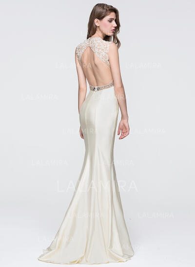 Trompete/Sereia Decote redondo Sweep/Brush trem Jersey Vestido de baile com Beading lantejoulas (018093870)