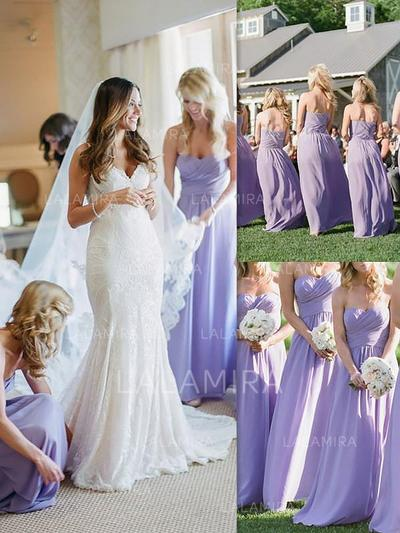 A-Line/Princess Sweetheart Floor-Length Bridesmaid Dresses With Ruffle (007218558)