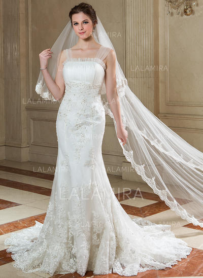 Chapel Bridal Veils Tulle Two-tier Drop Veil With Lace Applique Edge Wedding Veils (006151610)