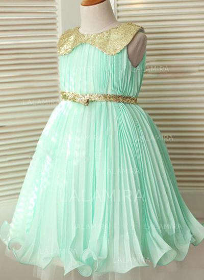 Peter Pan Collar Vestidos princesa/ Formato A Vestidos de daminha Tecido de seda/Lantejoulas Cintos Sem magas Coquetel (010211951)