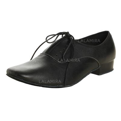 Men's Latin Ballroom Practice Real Leather With Lace-up Dance Shoes (053182924)
