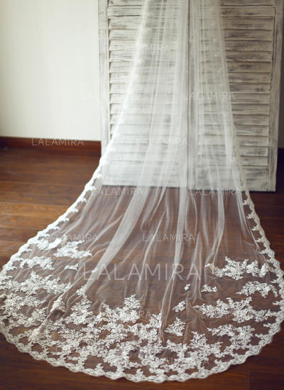 Cathedral Bridal Veils Tulle One-tier Drop Veil With Lace Applique Edge Wedding Veils (006151869)