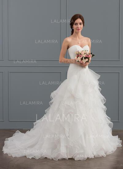 Trompete/Sereia Amada Cauda de sereia Organza de Vestido de noiva com Babados em cascata (002127269)