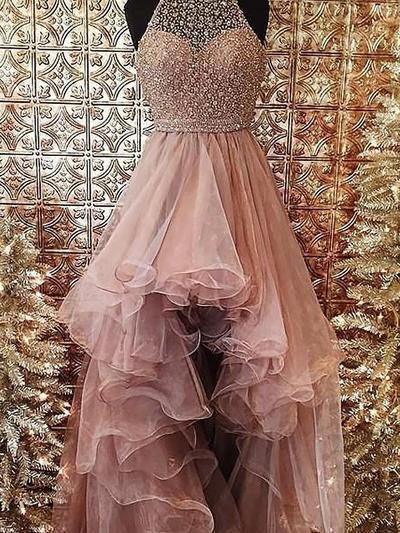 Ball-Gown Organza Prom Dresses Beading Halter Sleeveless Asymmetrical (018148461)