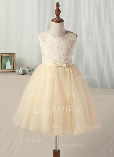 Vestidos princesa/ Formato A Comprimento médio Vestidos de Menina das Flores - Cetim/Tule Sem magas (010130864)