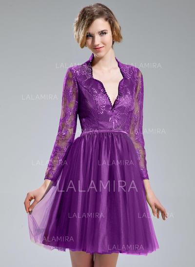 Coquetel Glamorouso Vestidos princesa/ Formato A Tule Renda Vestidos de cocktail (016213072)