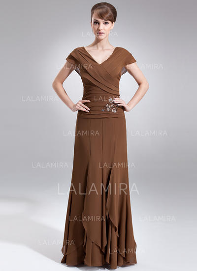 A-Line/Princess Chiffon Short Sleeves V-neck Floor-Length Zipper Up Mother of the Bride Dresses (008006059)