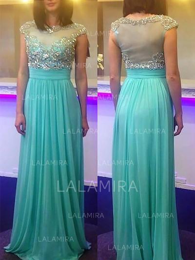 A-Line/Princess Sweep Train Scoop Neck Chiffon Prom Dresses (018148481)
