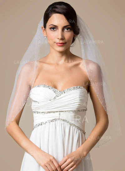 Elbow Bridal Veils Tulle One-tier Classic With Beaded Edge Wedding Veils (006151788)