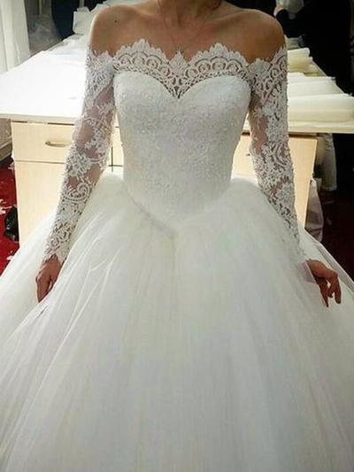Dentelle Longues manches Robe Marquise - Tulle Robes de mariée (002219366)