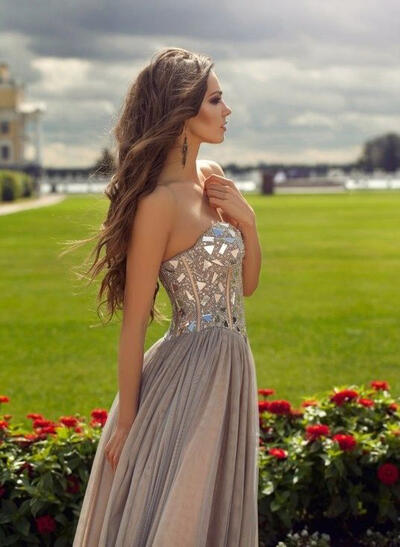 A-Line/Princess Sweetheart Tulle Sleeveless Magnificent Prom Dresses (018145888)