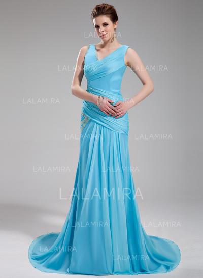 Chiffon V-neck A-Line/Princess Sleeveless Magnificent Evening Dresses (017019735)