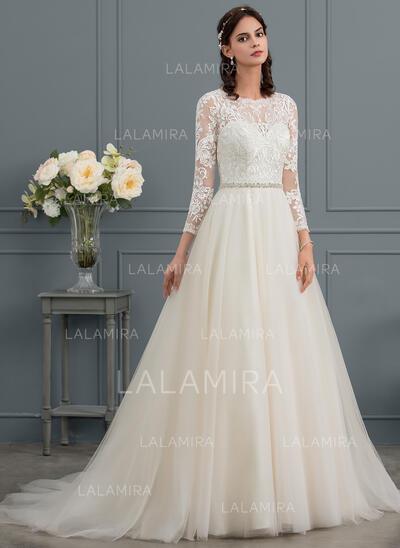De Baile/Princesa Decote redondo Cauda de sereia Tule Vestido de noiva com Beading (002145298)