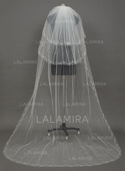 Chapel Bridal Veils Tulle Three-tier Drop Veil With Cut Edge Wedding Veils (006151198)