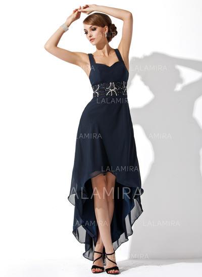 Princesse Mousseline Sans manches Amoureux Plissé Brodé Robes de soirée étudiante (022213912)