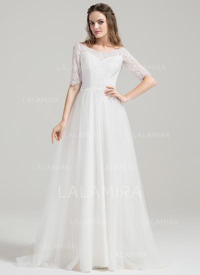 alayage/Pinceau train Forme Princesse Tulle Dentelle Magnifique Robes de mariée (002084725)