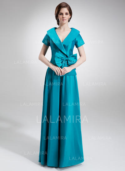 A-Line/Princess Taffeta Short Sleeves V-neck Floor-Length Zipper Up Mother of the Bride Dresses (008006023)