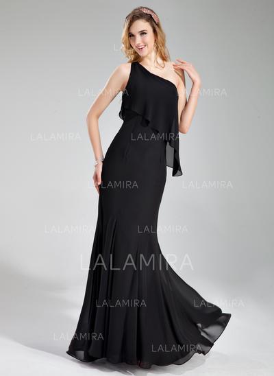 Un hombro Hasta el suelo Gasa Elegante Dama de honor (007197774)
