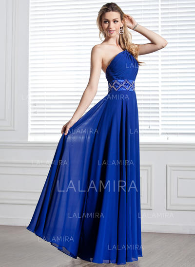 Elegant One-Shoulder A-Line/Princess Chiffon Evening Dresses (017004344)