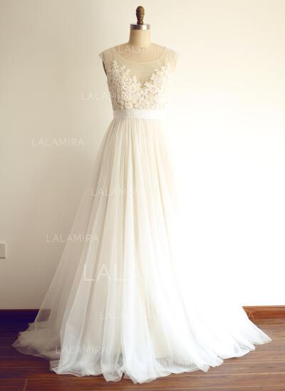 Coupe Évasée Illusion Balayage/Pinceau train Tulle Robe de mariée avec Brodé Motifs appliqués Dentelle Paillettes (002104628)