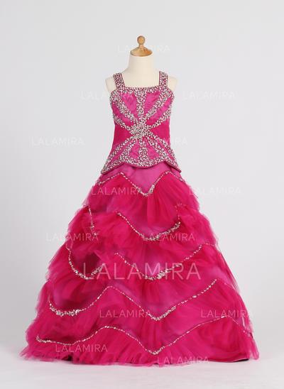 Floor-length Straps Satin/Tulle Flower Girl Dresses With Ruffles/Beading/Sequins (010007372)
