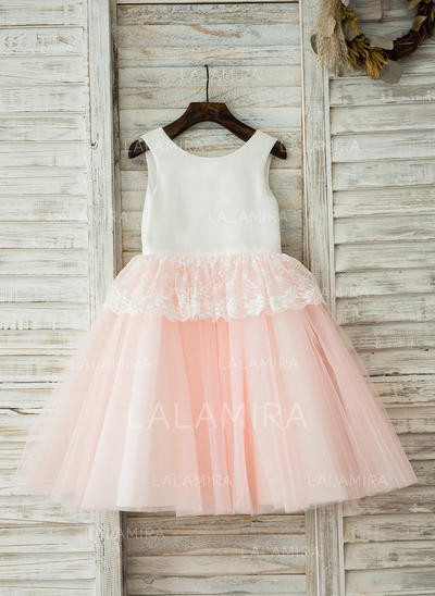 Newest Scoop Neck A-Line/Princess Flower Girl Dresses Knee-length Tulle/Cotton Sleeveless (010210147)