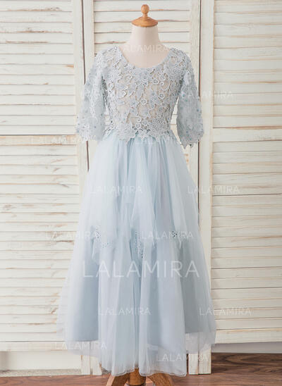 A-Line Ankle-length Flower Girl Dress - Tulle/Lace 3/4 Sleeves Scoop Neck With Beading (010193057)